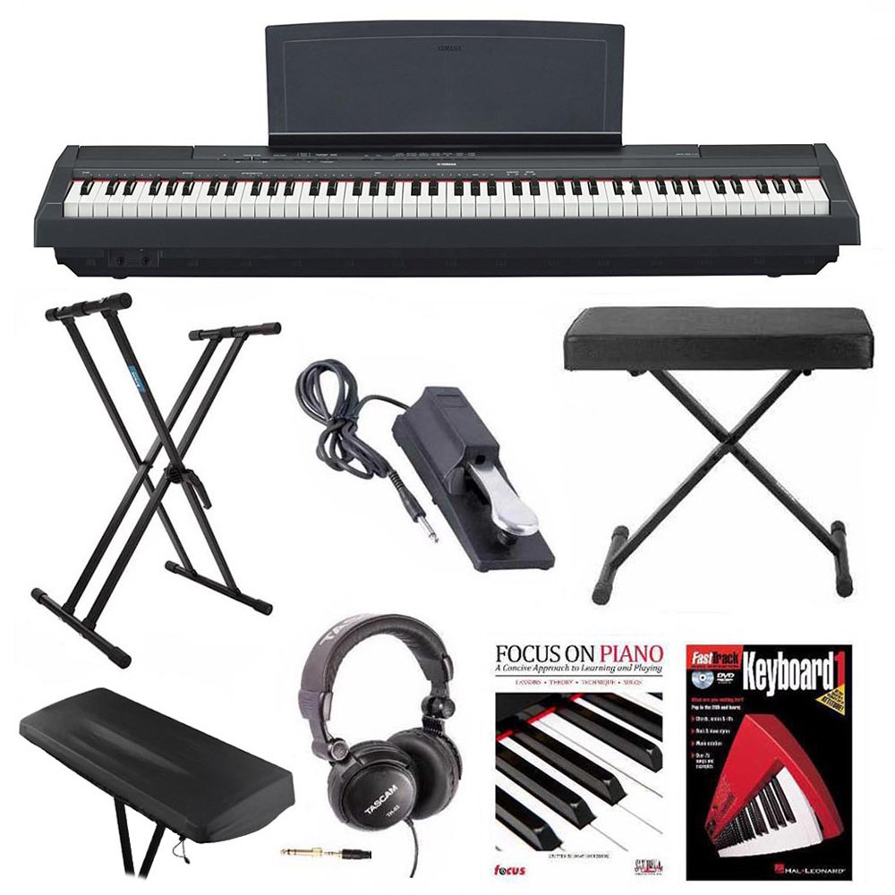 Yamaha P-125B 88-Key Weighted Action (GHS) Digital Piano (Black) Bundle with Knox Double X Stand, Knox Wide Bench, Sustain Pedal, Dust Cover Headphones and FastTrack Book and DVD by YAMAHA