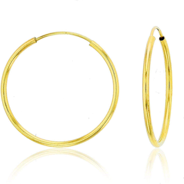 Solid 14K Yellow or White or Rose Gold 1mm Tube Cartilage Endless Flex Hoop Earrings | Huggies Hoops for Women Teens & Girls | Hypoallergenic | Cartilage Hoop Earrings | Size, 10mm-70mm