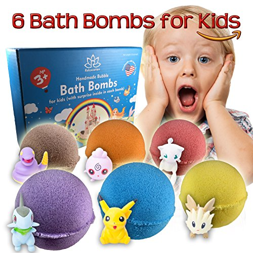 Organic Handmade Bath Bombs with POKEMON TOYS INSIDE for Kids  Natural and Safe Bath Bombs with Essential Oils and Vitamins