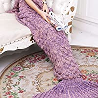 Yowao Mermaid Tail Blanket Adult Handmade Knitted Fish...