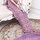 Image of Yowao Mermaid Tail Blanket Adult Handmade Knitted Fish Scales Pattern and All Seasons Warm Your Feet Sleeping Bag 74.86 x 35.46 inch (190x90cm) (Dark Pink)