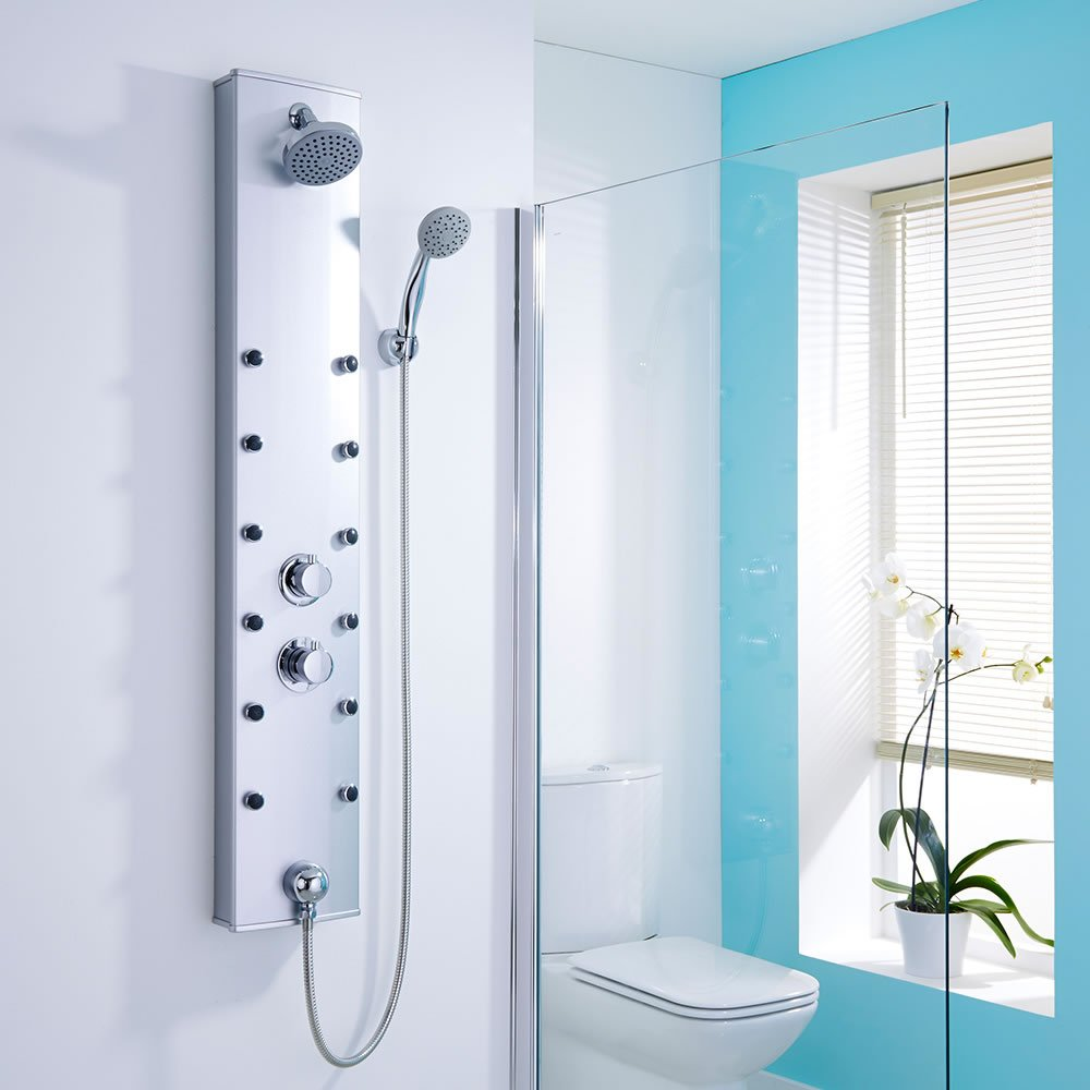 Thermostatic Shower Panel 12 Body Jets Head Handset Hose Anti-Scald ...