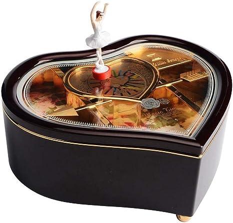 Caja de música Vintage - Caja Musical en Forma de corazón con un Regalo de Bailarina de Baile para el día de San Valentín y el cumpleaños de Navidad (Color : Negro):