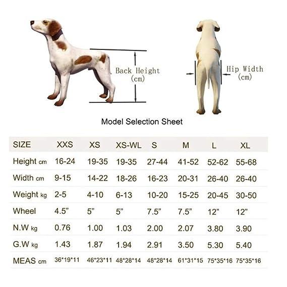 JKL Kit de Carro para Silla de Ruedas para Perros de 2 Ruedas Perro Ajustable para Silla de Ruedas para la rehabilitación de Las piernas traseras (Tamaño ...