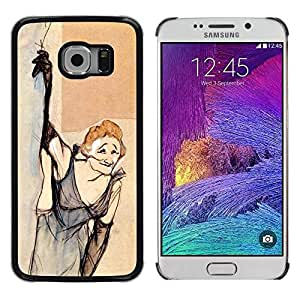 Cubierta protectora del caso de Shell Plástico || Samsung Galaxy S6 EDGE SM-G925 || Smoking Old Woman Dress Funny @XPTECH