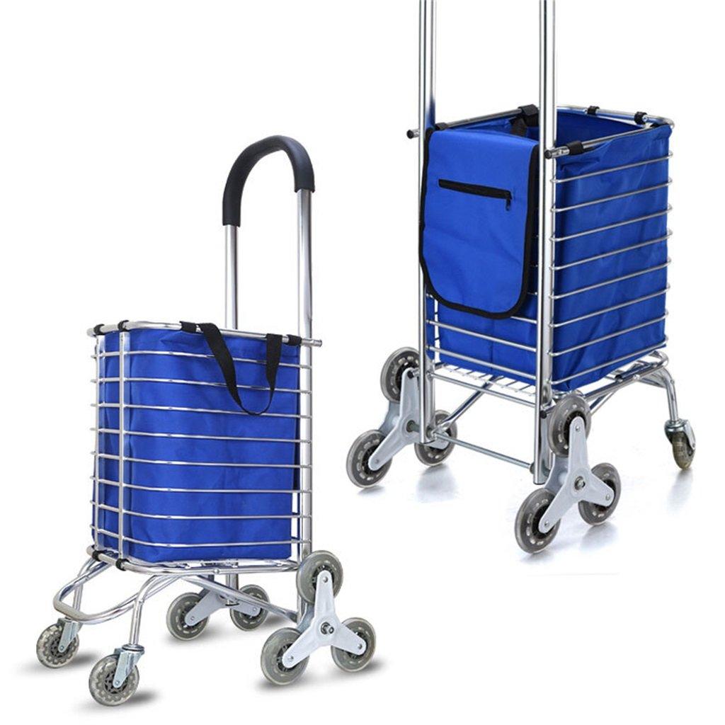 DS-ハンドカート ハンドトラックアルミ合金ポータブル折りたたみショッピングカートスーパーマーケット車のトロリー荷物カート布バッグと50kgのトラックをプル&& (色 : 青) B07KG1FJ1F 青