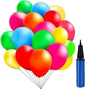 TedGem 100 Piezas Multicolores Globos con bomba de Decoracion de Fiesta pare 100 Globos de Fiesta de Colores Diversos,coloridos globos: Amazon.es: Juguetes y juegos