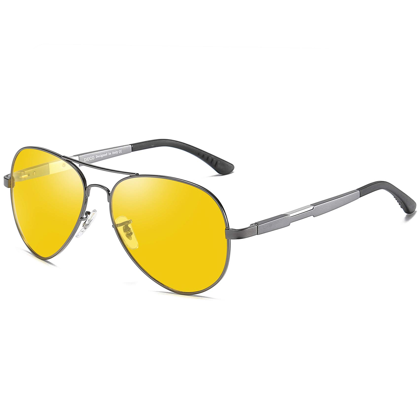 Duco Pilot Style Night Vision Polarized Anti-Glare Glasses For Mens Womens Sports 3026 (Gunmetal) by DUCO