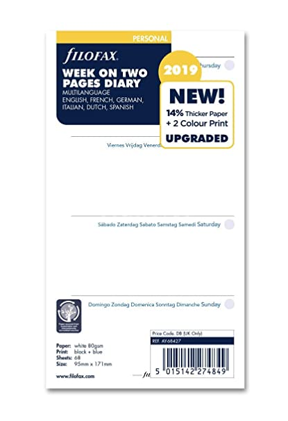 Filofax 19-68427 - Agenda personal de dos páginas (5 idiomas, 2019)