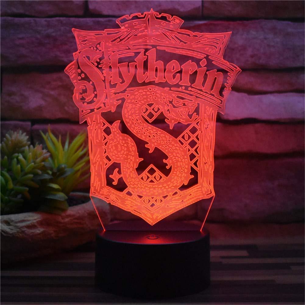 3D dekoratives Nachtlicht Neue 3D Illusion Nachtlicht Harry Potter Slytherin USB Stecker Fernbedienung & Touch 7 Farbwechsel Acryl LED Tischlampe Dekoration Kreative Modell Spielzeug Kinder Geschenke