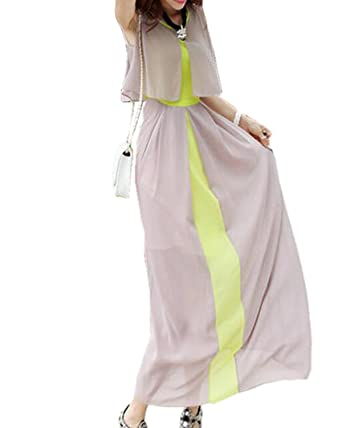 Aeneontrue Damen Sommerkleid Double Color Chiffon Böhmen Ärmellos Dünn  Beach Lang Kleid Strandkleid Elegant Partykleid Vintage