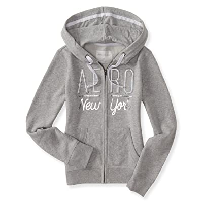 Aeropostale Women's Full-Zip Hoodie With Silver Logo Aero New York In Style 7510
