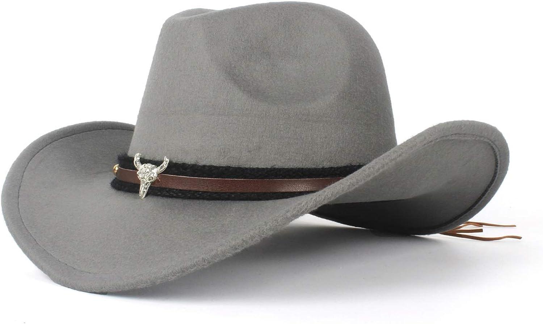 LL Fashion Ladies Wool Felt Western Cowboy Hat Jazz for Cowgirl with Bull Head Leather