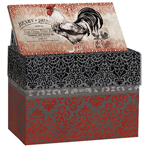 "LANG - Recipe Card Box - ""Cardinal Rooster'' - Artwork by Susan Winget - Easel Style Cover - 12 Coordinating, 4 x 5 Recipe Cards w Dividers by LANG"