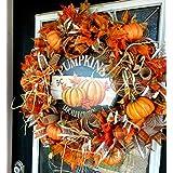 BEAUTIFUL Country Pumpkin Deco Mesh Front Door Wreath, Autumn Fall Decor, Farmhouse Home House Decoration