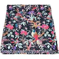 Yuvancrafts Kantha Bird Screen Print Cotton Quilt Indian Bedspreads