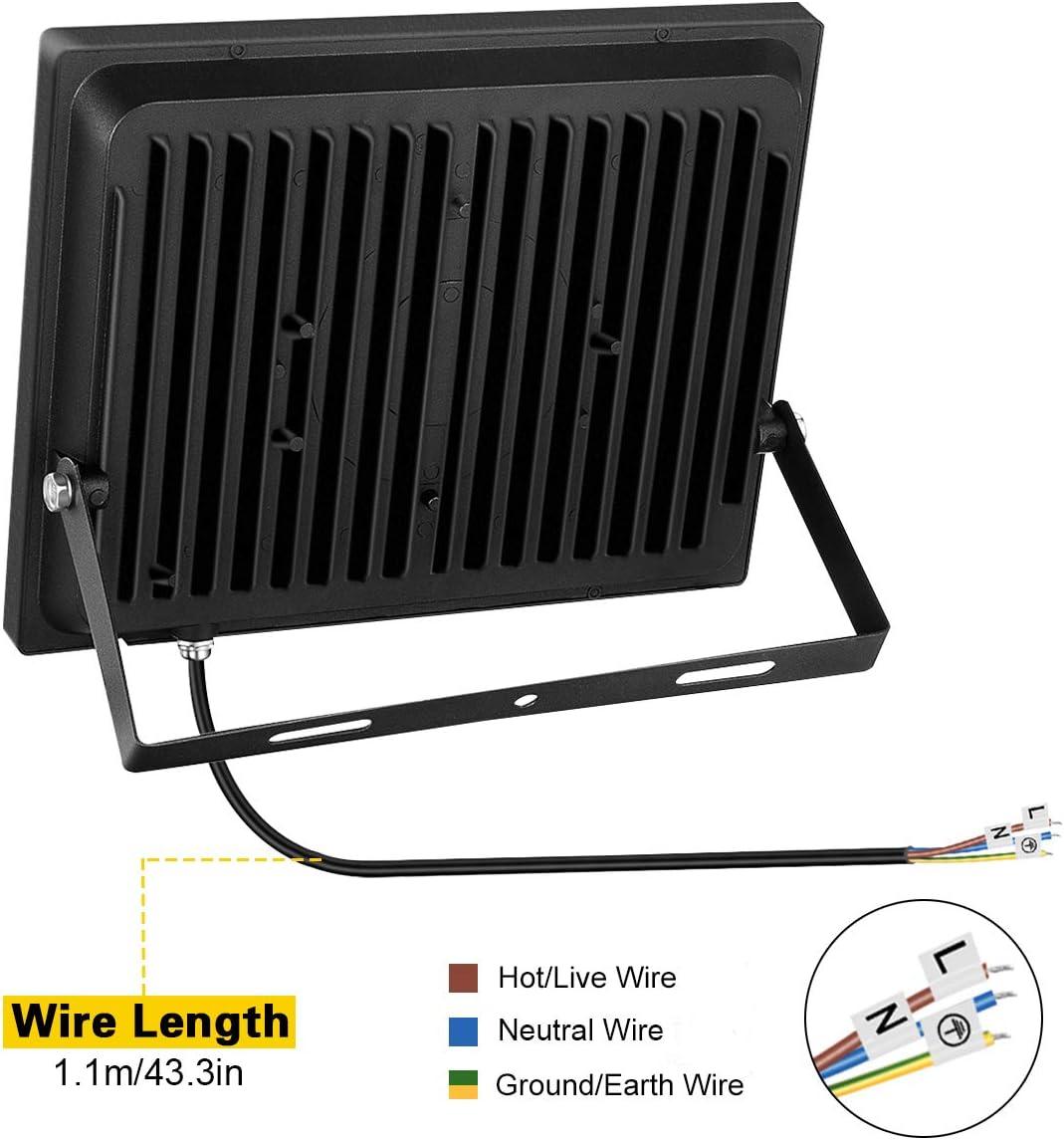 Foco LED 100W IP66 Luz de Seguridad Exterior Impermeable, 8000LM ...