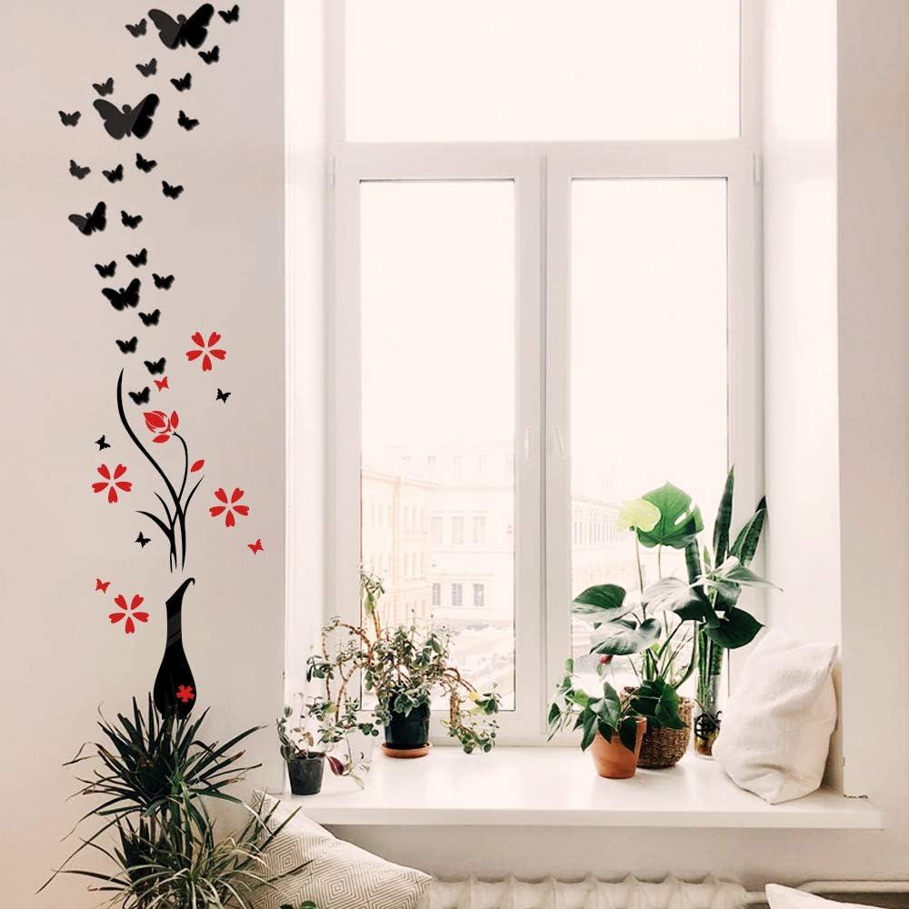 MEJOSER Ensemble Miroir Stickers Muraux Autocollant Mural Vase /à Fleurs Papillon en Acrylique Noir