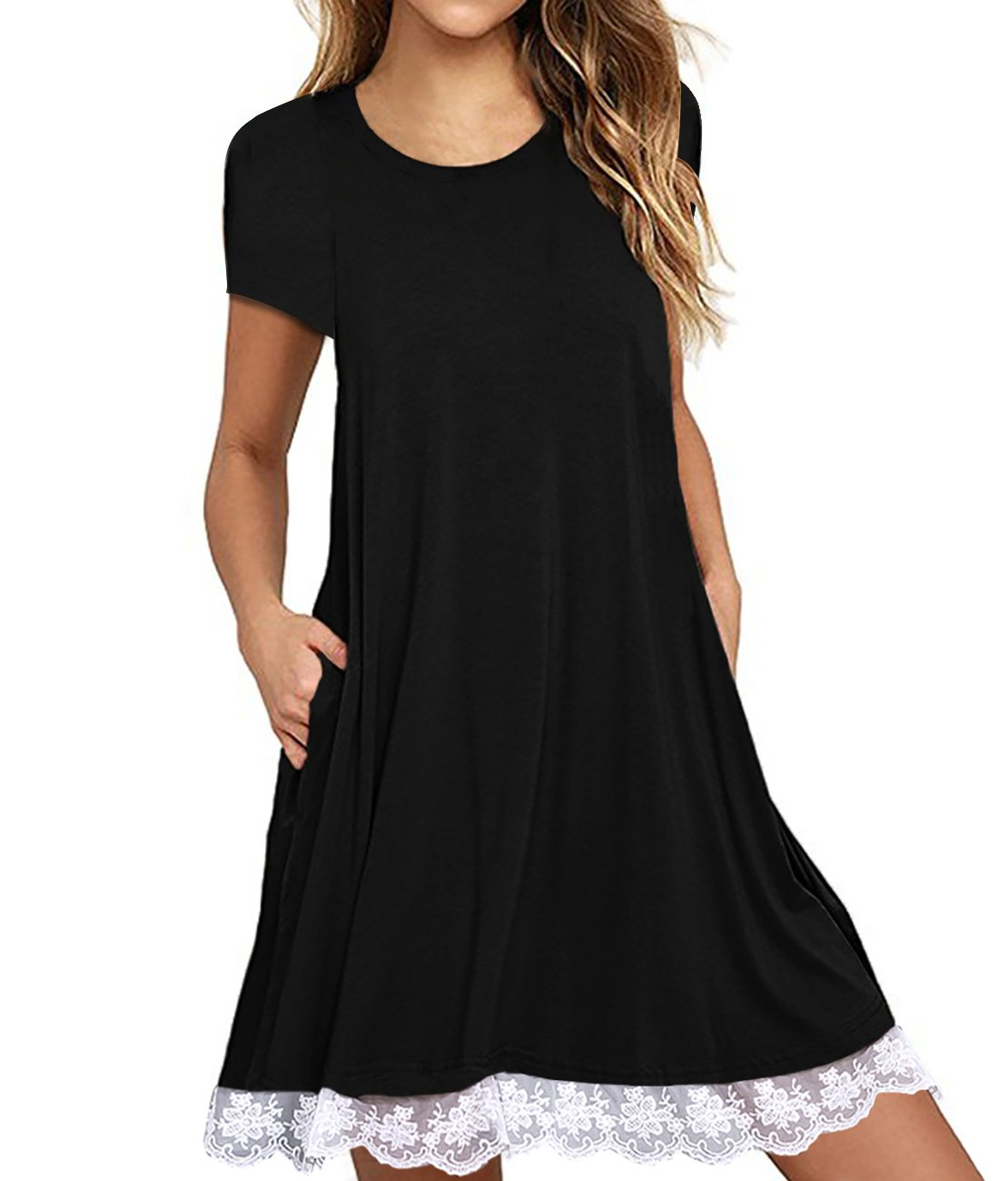 Omerker Women's Short Sleeve Pocket Lace T-Shirt Dress Swing Summer Tunic Dress(Small,Black)
