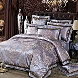 MKXI Classical Pattern Satin Jacquard Silk Duvet Cover Set,Luxury Paisley Queen King Set/grey purple