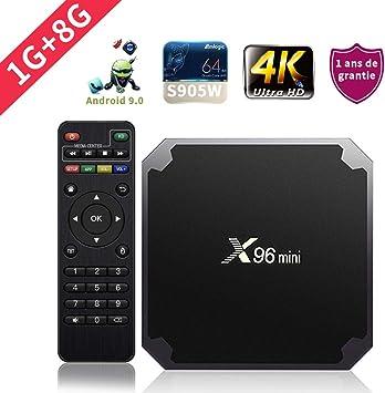 SUNNZO X96mini Android 9.0 TV Box con procesador Amlogic S905W Quad Core de 64 bits 1GB RAM+8GB ROM,WiFi,4K HD,H.265 (1+8GB): Amazon.es: Electrónica