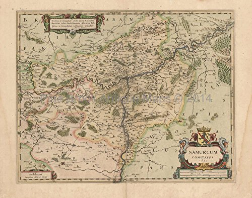 - Namur Charleroi Dinant Belgium Antique Map Mercator - Hondius 1632 Original