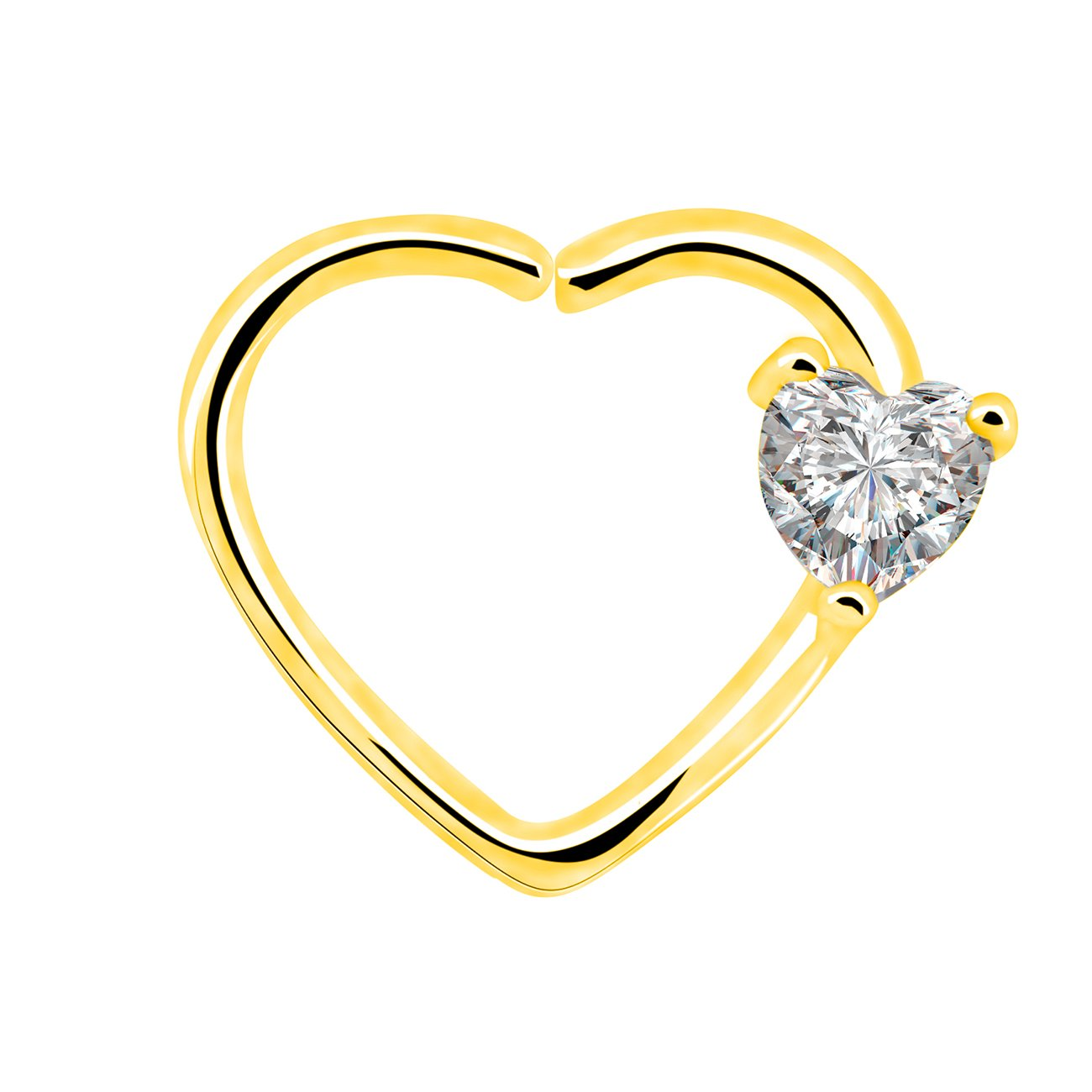 ce72d2318 Amazon.com: OUFER Body Piercing Jewelry 16 Gauge Clear Heart CZ Left  Closure Daith Cartilage Earring Heart Tragus Earrings Piercing (Gold  Clear): Jewelry