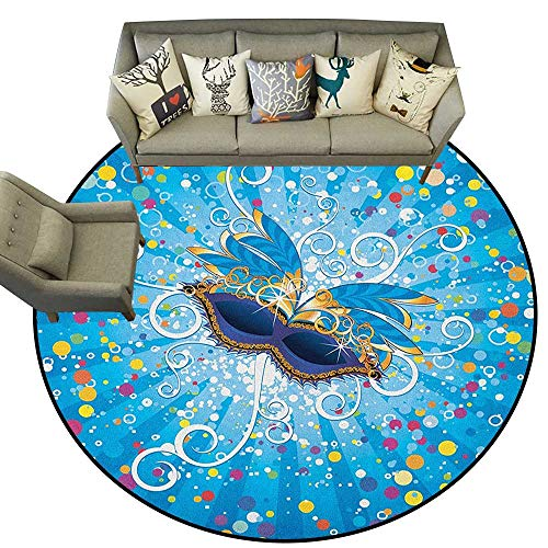 Mardi Gras,Kids Rugs Blue Backdrop with Colorful Dots Spots and Carnival Mask with Stylized Swirls D66 Round Rugs for Kids Toddlers Living ()