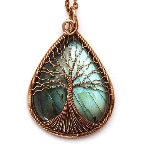 Amazon Com Blue Labradorite Tree Of Life Necklace Pendant
