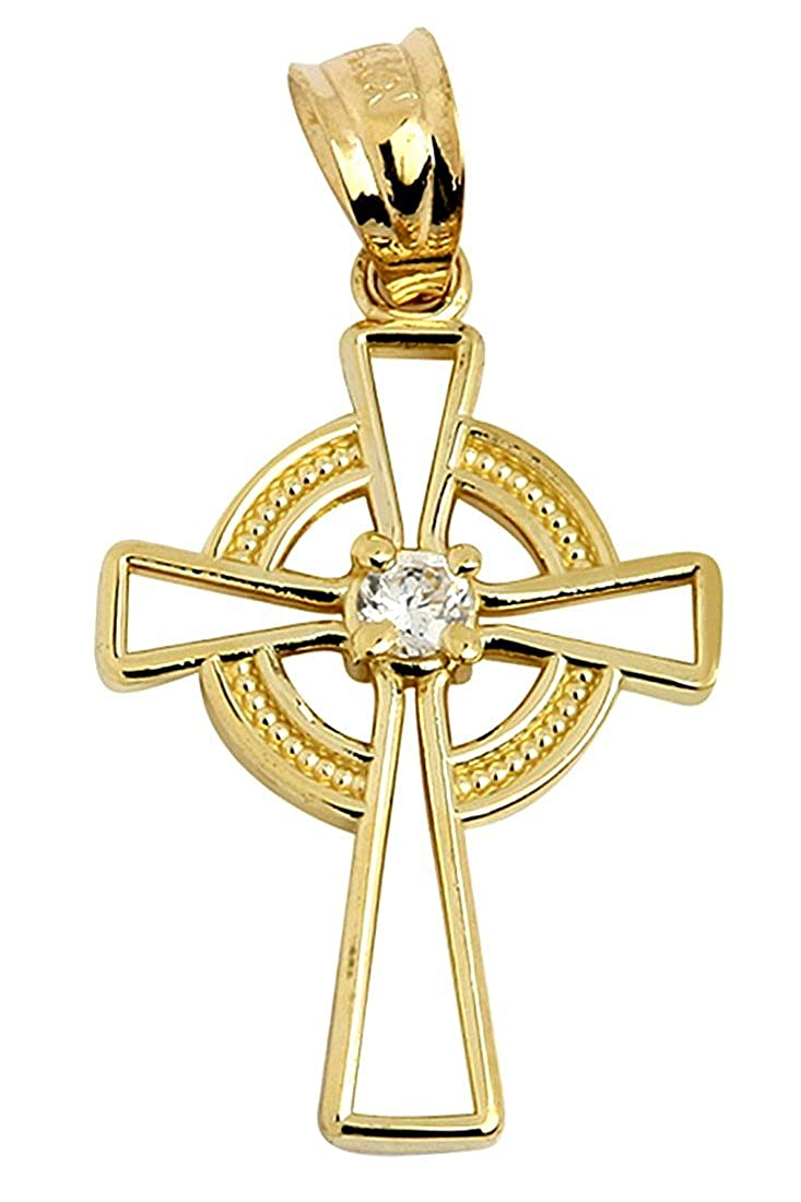 14k Gaelic Celtic Cross Gold Pendant with Center CZ