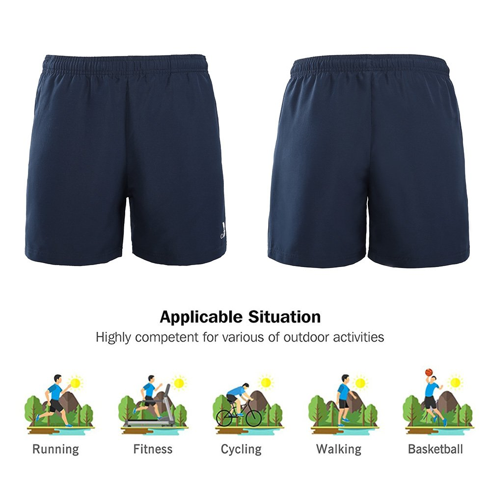 Camel Men\'s Sports Woven Shorts Quick Drying Breathable Workout Pants Perfect for Running/Walking/Yoga, Blue, Medium