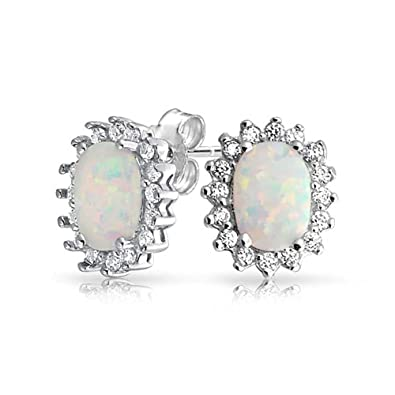 Bling Jewelry Oval Crown Simulated Opal Stud earrings 925 Sterling Silver 6mm SyEm5xfda
