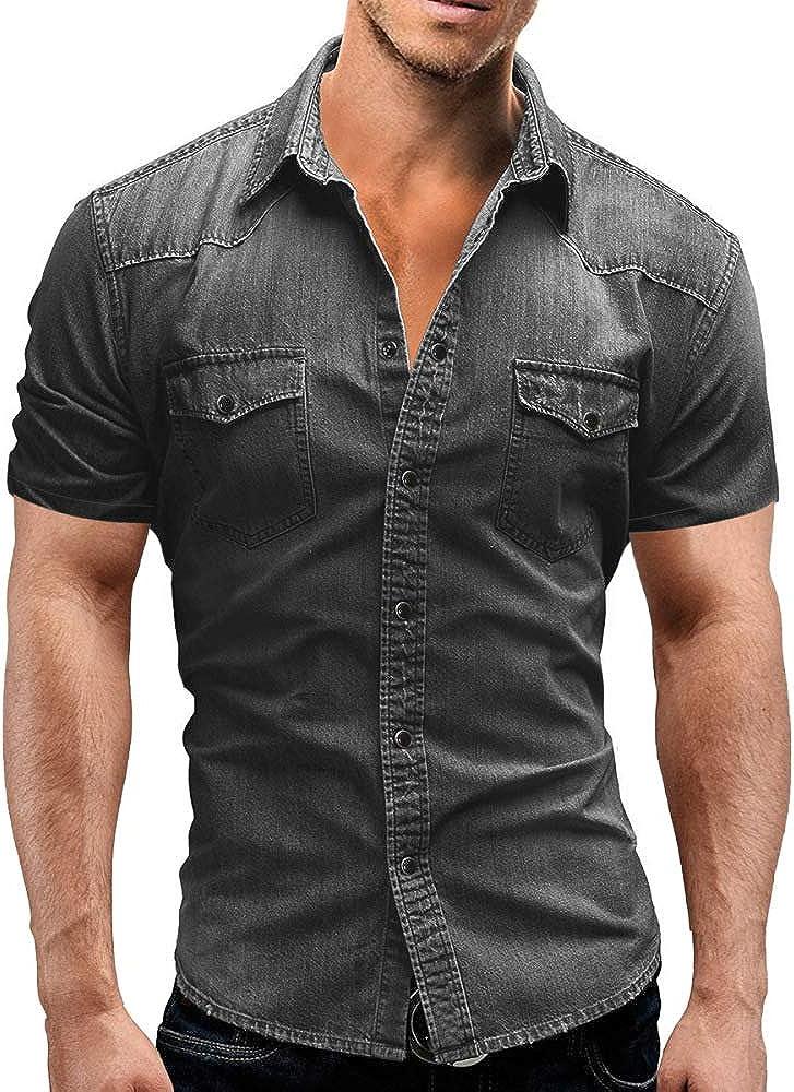 Jinyuan Camisa De Hombre De Moda Camisa De Mezclilla con BotóN Delgado para Hombre Casual Camisa De Manga Corta para Hombre con Bolsillos
