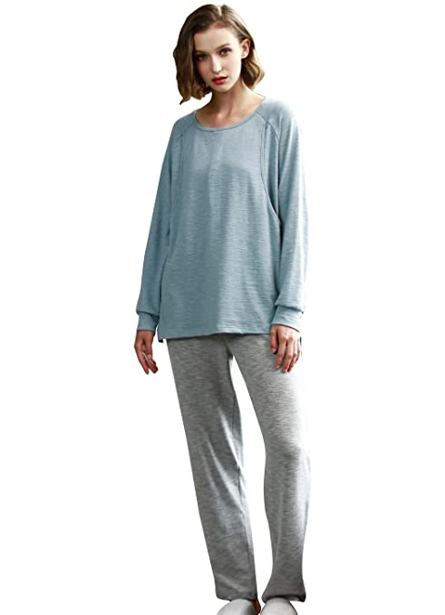 072144bd0488c Epinmammy Women's Maternity Nursing Pajamas Set Soft Cotton Breastfeeding  Top and Pant Sleepwear 2 Pieces at Amazon Women's Clothing store:
