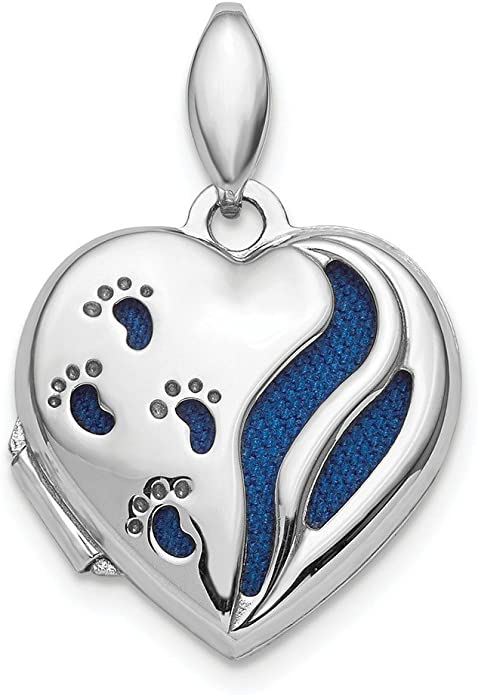925 Sterling Silver Polished /& Satin Paw Prints Heart Locket Charm Pendant Holds 2 Photos