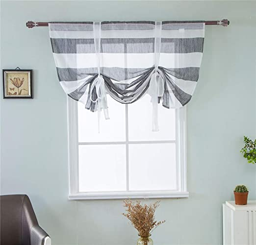 24 x 47 Inch Yellow ZebraSmile Floral Semi Sheer Kitchen Window Rod Pocket Curtain for Window Balloon Curtain Roman Curtain Lifable