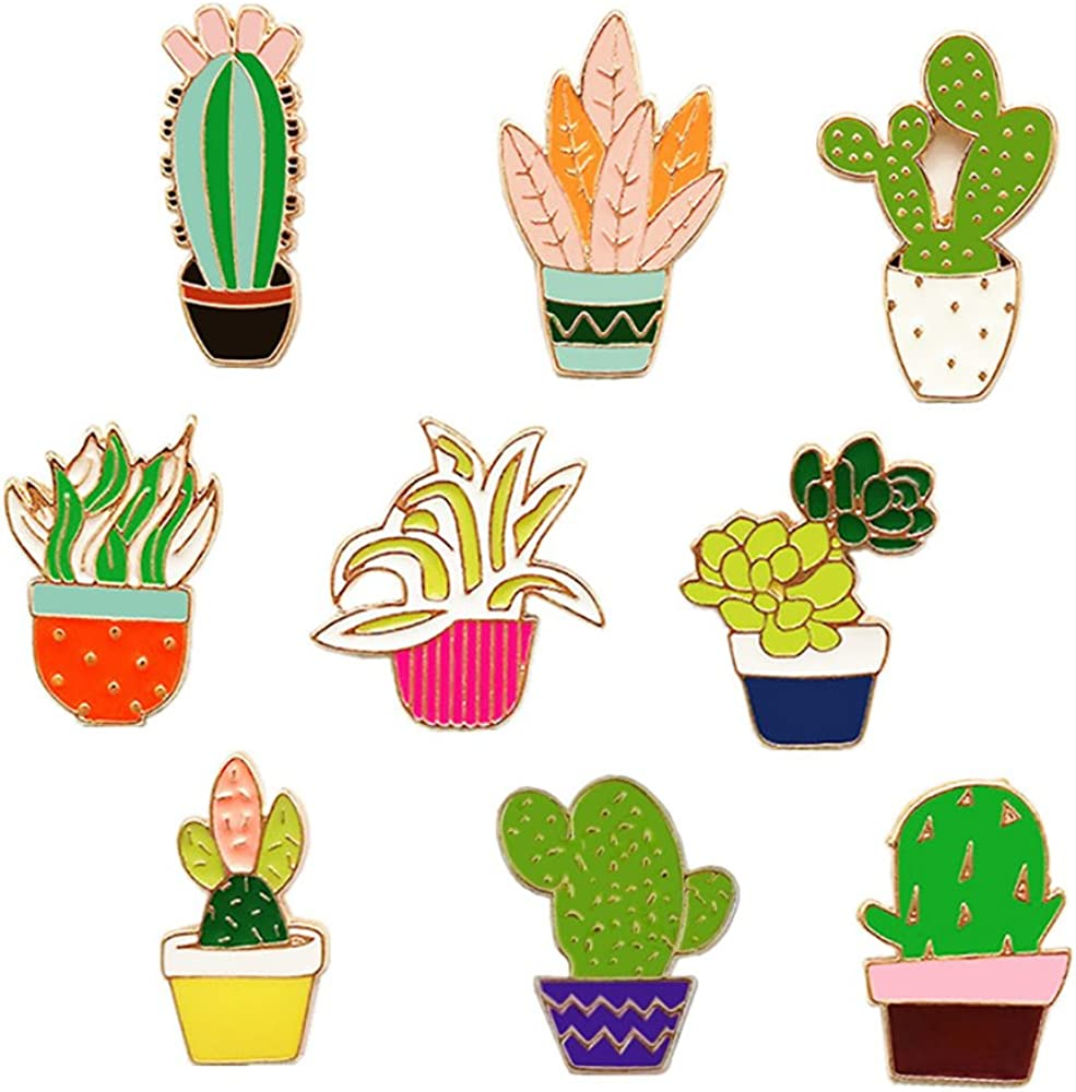 Cute Enamel Lapel Pins Set Cartoon Animal Plant Floral Fruits Foods Brooches Pin Badges for Clothing Bags Backpacks Jackets Hat DIY (Flower plants set of 9)