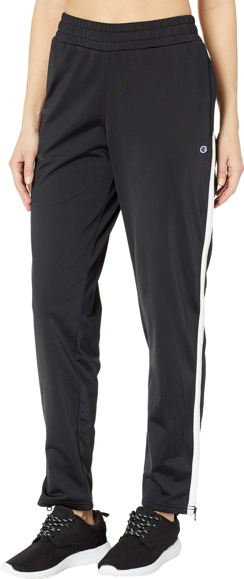 Champion Women's Heritage Warm Up Ankle Pant, Black/Oxford Grey Heather Large