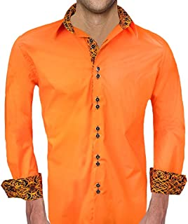 product image for Bright Orange with Black Accent Designer Dress Shirt - Made in USA