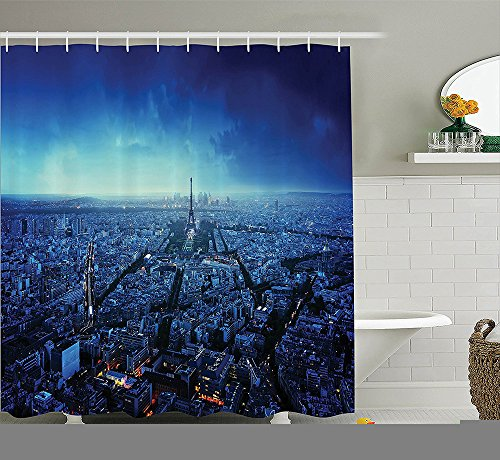 [Apartment Decor Collection Futuristic Sci-fi City with Skyscraper at Sunset Artistic Painting Style Illustration Polyester Fabric Bathroom Shower Curtain Yellow] (Nerd Costumes At Party City)