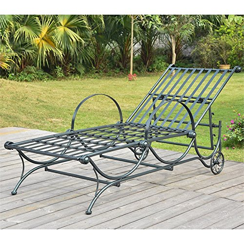 International Caravan Mandalay Metal Patio Chaise Lounge in Verdigris