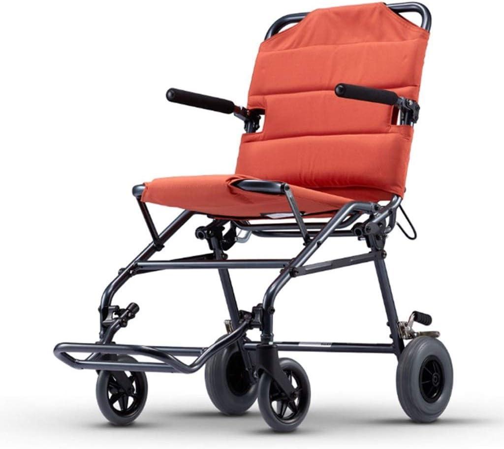 Equipamiento médico Plegable accesible Silla de Ruedas Ligera Ancianos Carro niño discapacitado en Silla de Ruedas Silla de Ruedas, Plegado Ligera (Color : Red, Size : 60 * 91 * 92cm)
