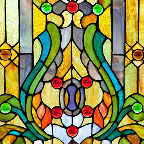 Fleur de Lis Stained Glass Panel: 24.75 Inch Decorative Tiffany Style Window Hanging - Large Framed Vertical Floral Hangings for the Wall or Windows with Blue, Purple, Green and Red Accents by River of Goods (Image #3)