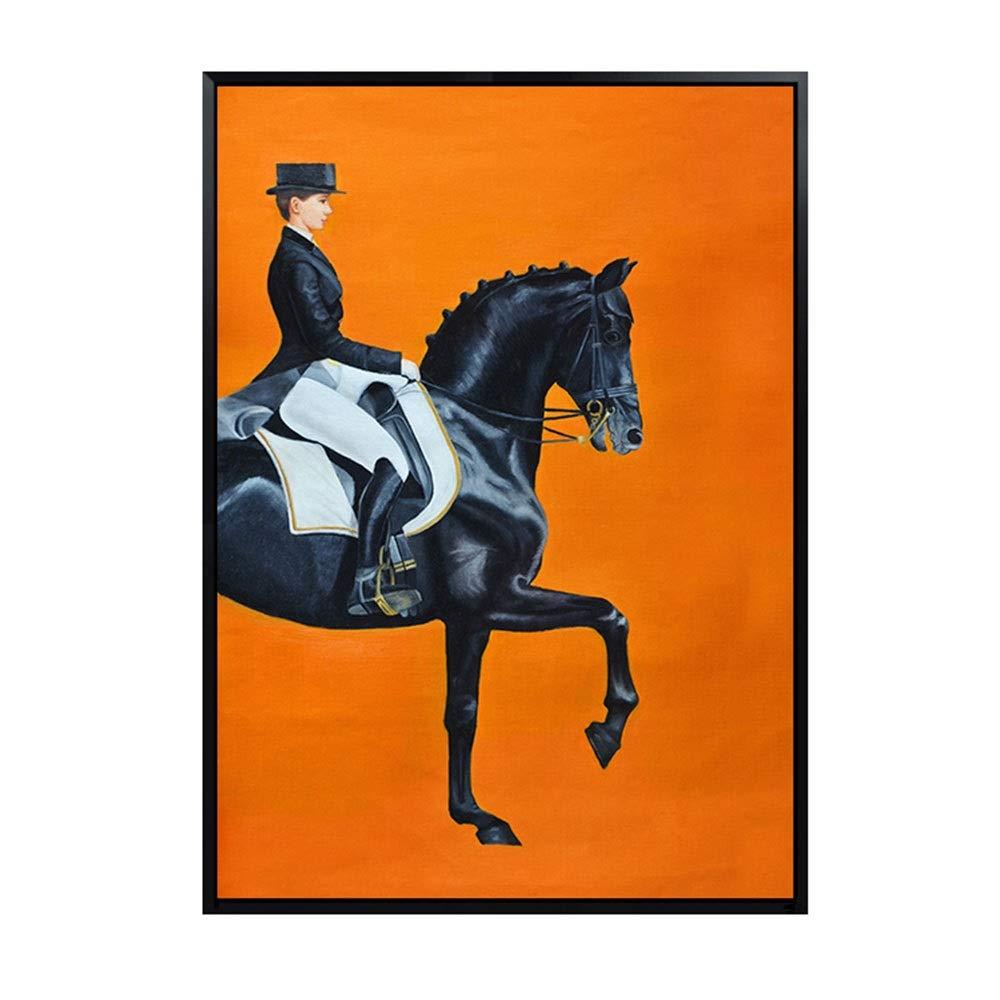 ZR オレンジ色の馬のエントランスポーチの絵画、モダンなミニマリストの北欧スタイルのリビングルームの壁画、フレームインクジェット付きの飛行機、壁画 (色 : 黒, PATTERN : B) B07T5DQ9VK 黒 B