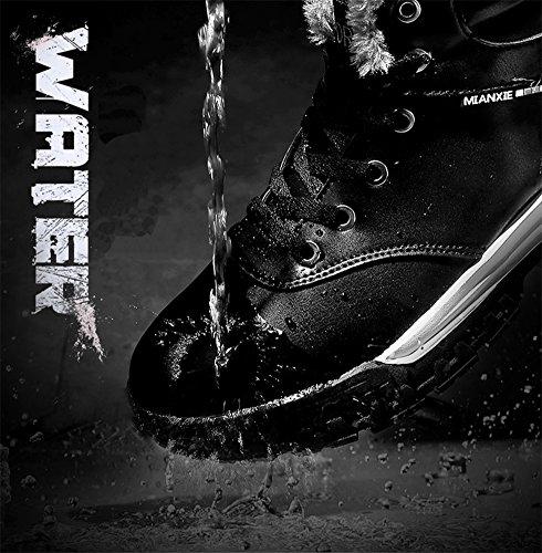Eagsouni® Herren Winterstiefel Warm Gefütterte Schneestiefel Leder Wasserdicht Kurzschaft Stiefel Outdoor Winter Boots Braun