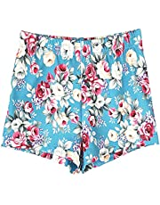Domusgo Gymnastics Shorts for Teens Girls 12-14 Years Old Blue, Sparkle Tumbling Bottoms Kids Floral Cheer Short for Dancewear Jazz, Hip hop, Practice, Exercise