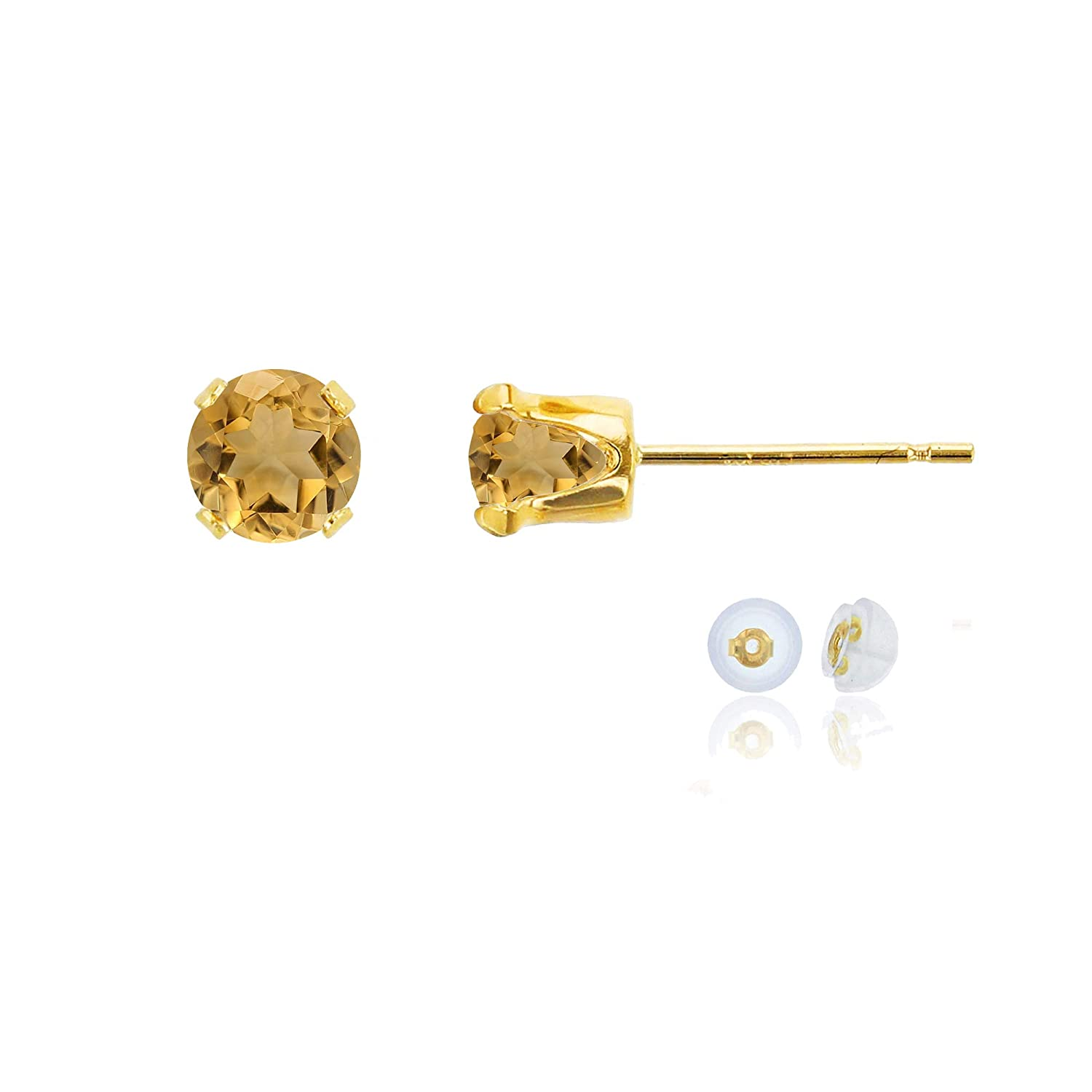 14K Yellow Gold 5mm Round Gemstone Stud Earring with Silicone Back Decadence