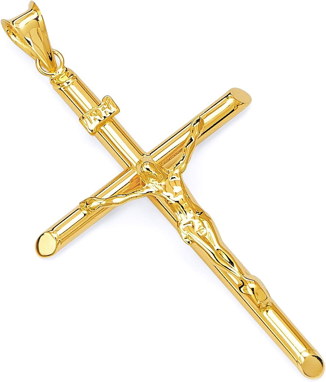 TWJC 14k Yellow Gold Crucifix Cross Religious Pendant Size : 20 x 10 mm