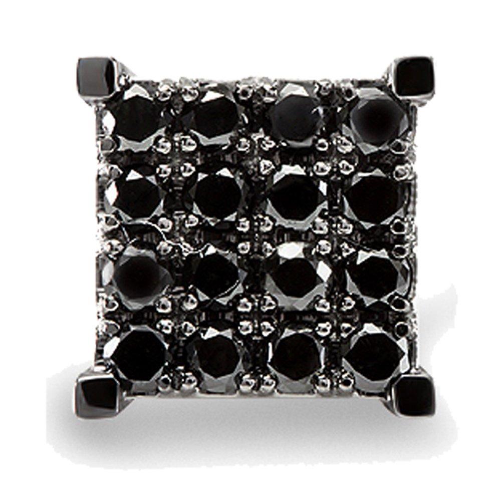 0.87 Carat (ctw) 10k White Gold Black Round Diamond Square Shaped Stud Earring
