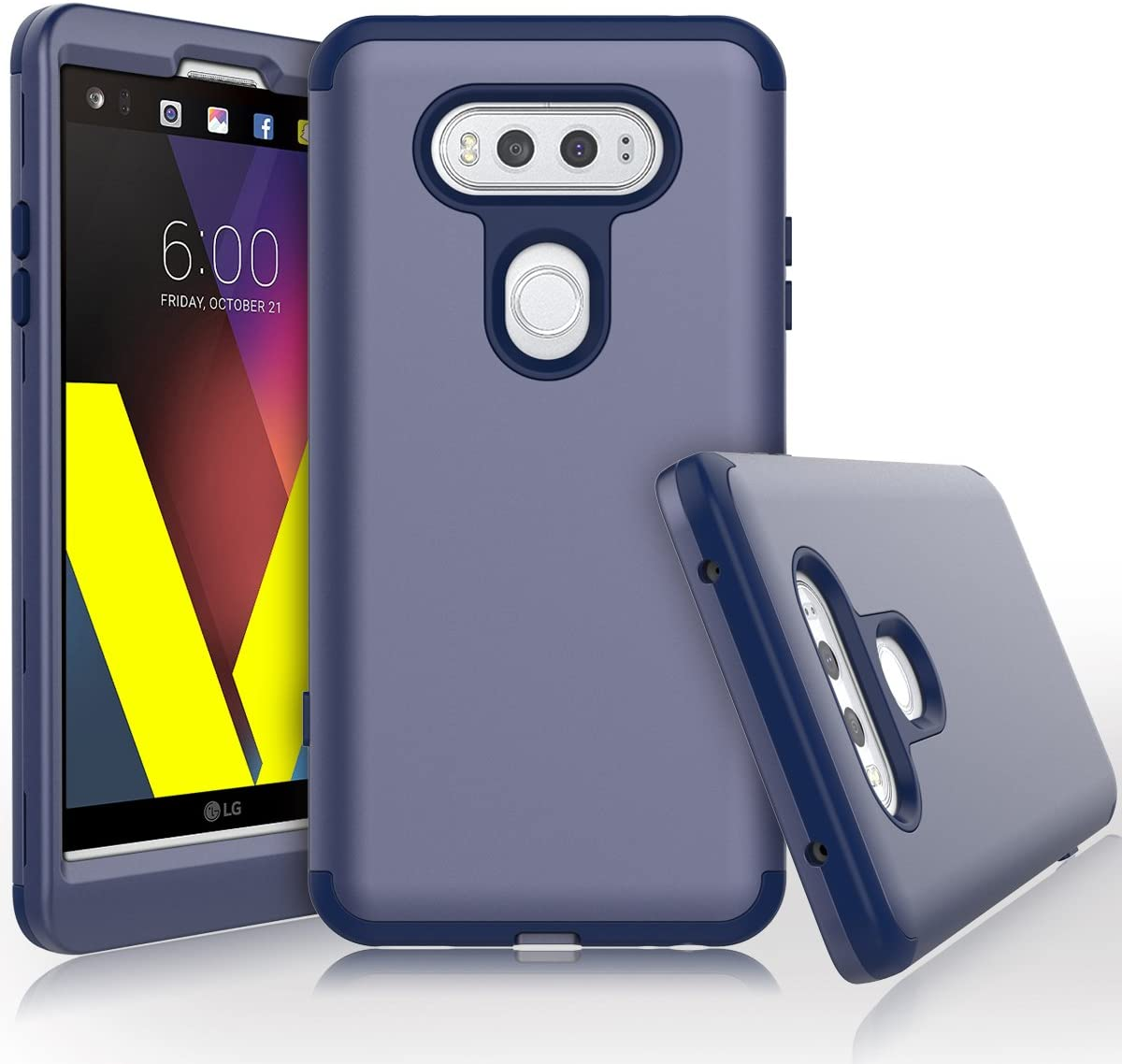 LG V20 Case, WeLoveCase Heavy Duty High Impact Defense Shield Hard PC Outer Shell with Inner Soft Rubber Hybrid 3 in 1 Combo Full-Body Armor Protective Case for LG V20 Navy Blue
